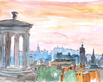 Edinburgh Scotland Skyline at Dusk - Fine Art Print - Original Available