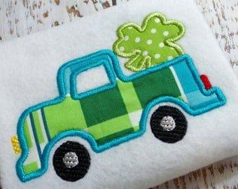 Applique Shamrock truck machine embroidery design file, St. Patrick's Day design, embroidery design, shamrock design, instant download