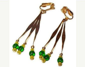 """Green Clip On Dangle Earrings Green Yellow Beads Gold Metal Tribal 3"""" Vintage"""