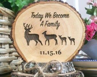 Rustic Wedding Cake Topper Wood Blended Family Custom Engraved