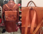 Brown hadmade high quality leather backpack messeger satchel old school bag