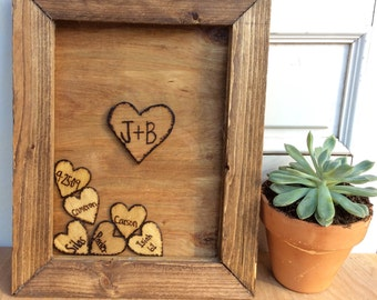Gifts for him, Father's Day gift,Gifts for Dad,wooden frame,wooden heart drop box