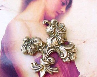"""Beautiful Art Nouveau Styled Vintage Brooch-Lilies Tied with """"Ribbon"""""""