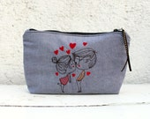 Embroidered Clutch, blue cotton make up bag, pencil case, couple in love embroidery, hearts and kiss  zipper pouch. Project bag. Sister gift