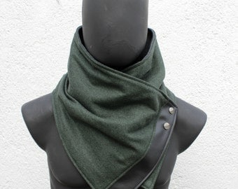 Unisex scarf. Men and women cowl, Forest green wool with faux black leather and metalic snaps . Modern,and cozy. Mens winter. Husband gift.