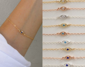 NEW Evil eye charm bracelet - tiny cz evil eye - mini evil eye bracelet  - small evil eye bracelet - silver - gold - rose gold