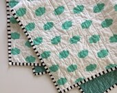 SALE* Modern Whole Cloth Baby Quilt - Teal Clouds