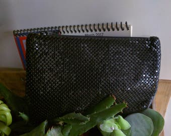 50s WHITING AND DAVIS Black International Zip Top Coin/Make-up/Wallet