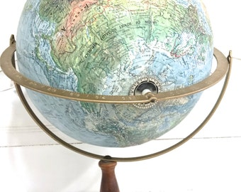 Vintage World Globe Wood Stand Replogle Land and Sea Globe Floor Stand