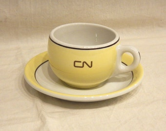 CN Rail Railway Yellow Cup & Saucer Hotelware Duraline Grindley Cassidy's Vandesca Restaurant Ware Railroad Vitrified China -3