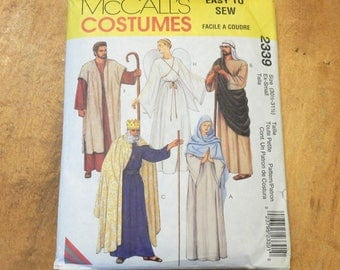 """Uncut McCall's 2339 Biblical Nativity Costumes Gown-Peasant-King-Angel-Shepherd-Wiseman Size XS 30 1/2""""-31 1/2"""" Extra Small"""