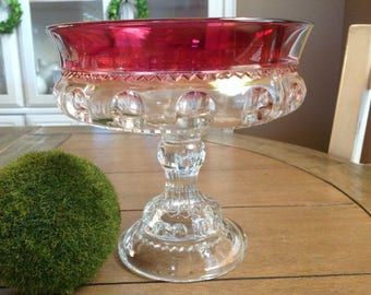 """Vintage Tiffin Kings Crown Thumbprint Ruby Red Large footed Compote 7 1/4"""" in diameter"""