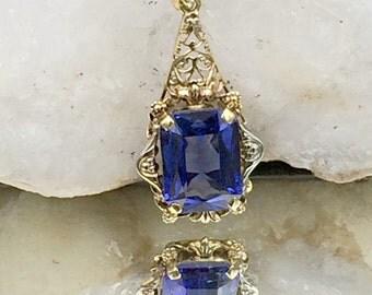 Vintage Sapphire 14k Gold Pendant, September Birthstone