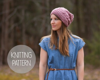 knitting pattern spring slouchy hat toque - the petals beanie