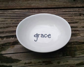 Grace. Hand painted ring dish