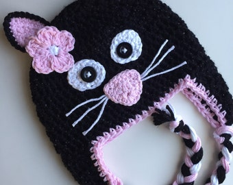 Black cat hat, kitty hat, crochet black cat hat, crochet kitty hat, crochet cat hat, girls kitten hat