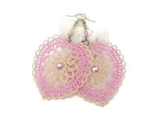 Crochet heart earrings -Crochet earring jewelry - Large crochet earring - Crochet earring -  Pink and beige - Textile Jewelry -