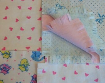"""Kitten Fringed Rag quilt kit 75 pre cut 8.5"""" squares, 3 layers of flannel, pink and blue rag quilt, ready to sew, finished is  35x35"""