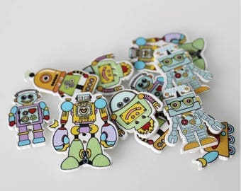 """30 PC Painted wood buttons 29mm - Wooden Buttons ,buttons, natural wood buttons """"robot"""" A101"""