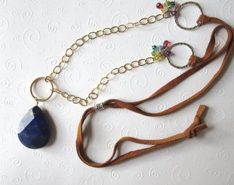 Large Lapis Gold Silver and Gemstone Long Necklace