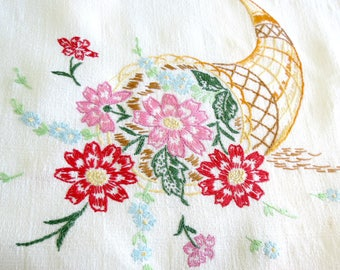 Vintage Table Runner, Dresser Scarf, Hand Embroidered Dresser Doily,  Pink and Red Flowers, Vintage Linens by TheSweetBasilShoppe