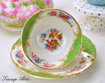 ON SALE Paragon Green Rockingham Teacup and Saucer Set, English Bone China Tea Cup, Wedding Garden Tea Party, ca. 1963