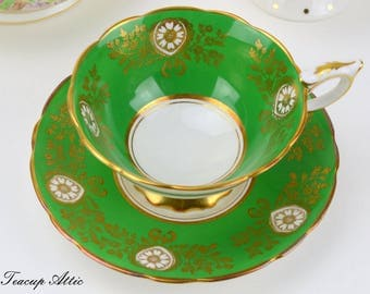 ON SALE Royal Stafford Footed Emerald Green and Gold Teacup and Saucer, ca. 1950