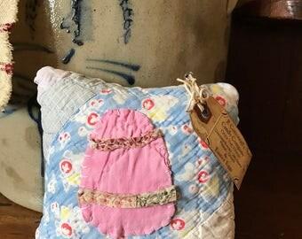 Happy Spring~Easter Egg- Mini Pillow Tuck or Bowl Filler~ vintage quilt~ Peter Cottontail- Pink~ Happy Easter- Primitive Decor- Handmade