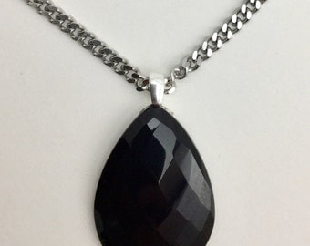 Black Onyx Checkerboard Cut Cab Necklace Stainless Steel Curb Chain-Onyx Necklace-Gemstone necklace-Gemstone Cabochon-Faceted Black Onyx