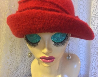 RESERVED FOR BILLIE Crocheted Felted Cloche Flapper Hat 'Ronie'