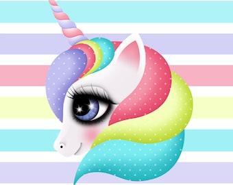 Giclee Fine Art Print of my Digital Illustration, Unicorn illustration, 8x8