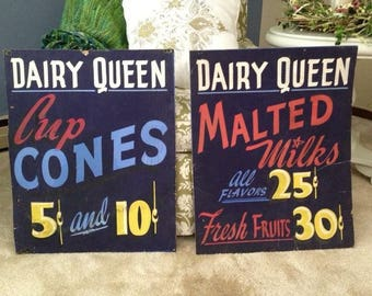 1940s Dairy Queen Signs Hand Painted Ice Cream Signs, Dairy Queen Ice Cream Cone and Malts Signs, Colorful Vintage Ice Cream Signs