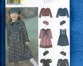 Simplicity 5847 Little Girl's Raised Waist Country Dresses & Hats Pattern Size 3 to 8 UNCUT