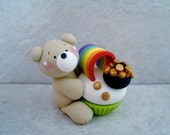 Bears - Pot of Gold - Rainbow - Cupcake - Polymer Clay - St. Patrick's Day - Figurine