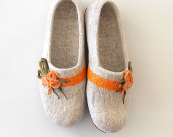 Felted women slippers in size US 9.5, EUR 41 - felted wool slippers for her - READY to ship
