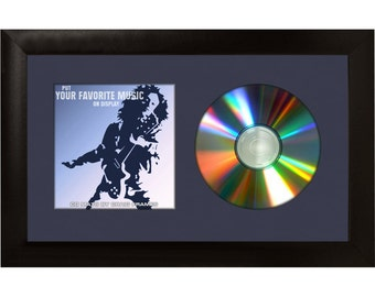 """Navy Blue CD Display Mat Complete w/ 1"""" Wide Black Picture Frame (CD1WB3BL)"""