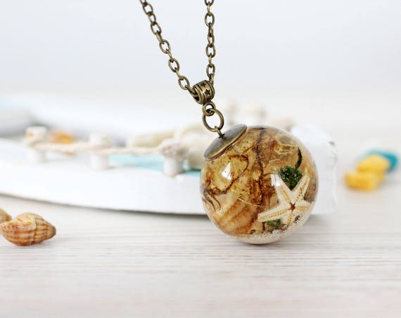 Marine Necklace - Beach Wedding Necklace - Seashell and Starfish - Beach Wedding
