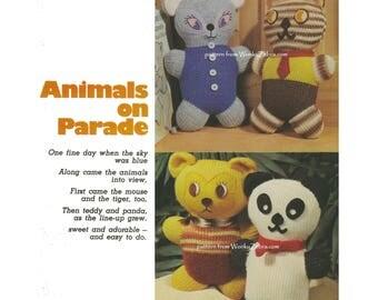Vintage Knit Pattern PDF 170 Animals on Parade Knitting from WonkyZebra