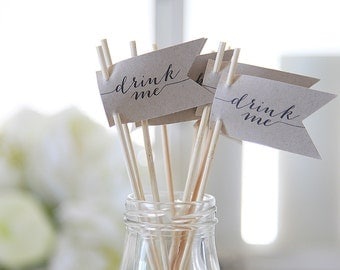 Drink Me / Drink Stirrers / Drink Tags / Flags / Wedding Drink Tags / New Years