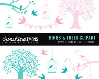 Birds and Trees Clipart - Tree Clipart - Birdcage Clipart - Bird Clipart Clipart - Clipart pack set of 12