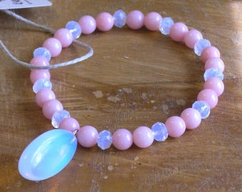 Natural Pink Jade and Opal Beaded Stretch Bracelet with an Opal Pendant