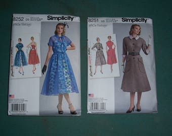 Simplicity 8252 or Simplicity 8251..Misses Vintage 1950's Dress and Redingote..Retro 50's clothing Pattern..Mid Century Mad Men Era Clothing