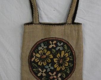 Antique Linen Appliqued Embroidered Bag