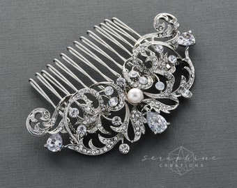 Wedding Hair Comb Bridal Hair Comb Swarovski Pearl Rhinestone Wedding Jewelry Bridal Jewelry Clear Sparkly Pearl Crystal Vintage G07
