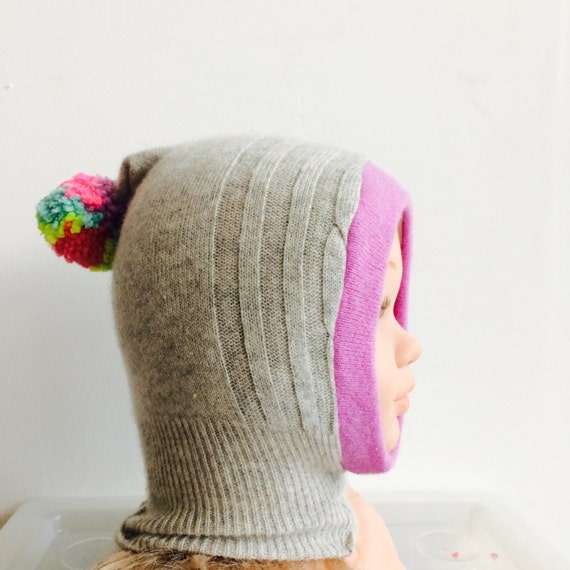 DIZZY 0-3m Baby Balaclava Snood Hat Bonnet in Upcycled Cashmere Unisex
