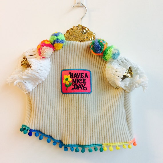 SHOW 2-3 Years Childrens Gilet Waistcoat Vest Sweater Upcycled with Pom Pom trim and Patch Unisex