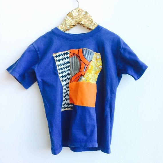 COVER 5-6 Years Kids Childrens T Shirt Top with Appliqué Patch in Upcycled Cotton Unisex