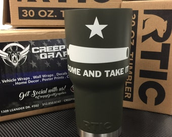 Custom Painted RTIC 30oz Tumbler with Come and Take it Graphics from Creepy Goat Graphics
