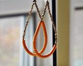 Orange large hoop earrings-Handmade recycled Vinyl earrings with brass beads- Orange beaded earring-African jewelry-Fun earrings-