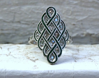Gorgeous Intricate Diamond Navette Style Ring Engagement Ring.
